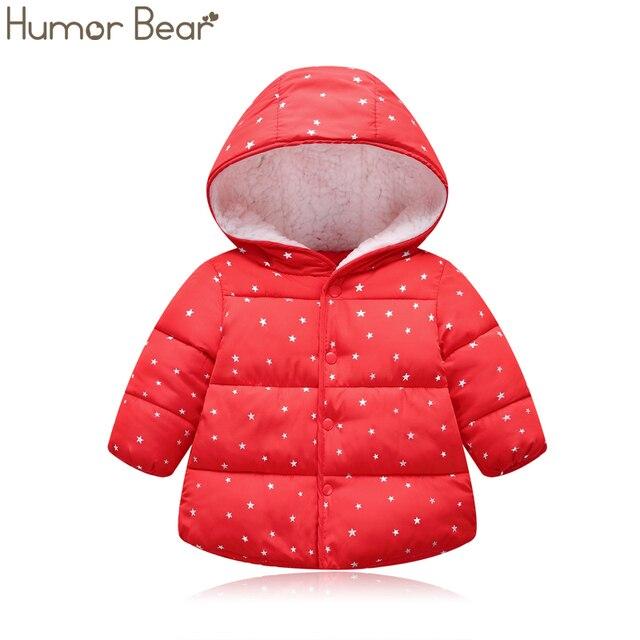 Mizah ayı bebek kız ceket 2019 sonbahar kış kız ceket ceket çocuklar sıcak kapşonlu yıldız giyim ceket erkek ceket çocuklar giysi