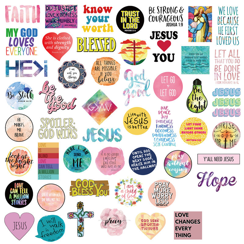 50pcs Jesus Christians Believe In Famous Sayings Word Stickers For Styling Luggage Fridge Laptop Case Car  Kids TOY Sticker Pack