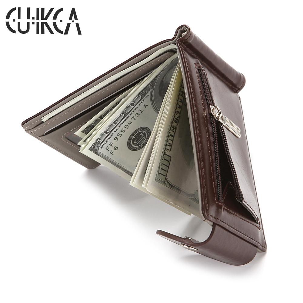 CUIKCA Slim Leather Wallet Coin Bag Money Clip Card Cases Zipper  Women Men Wallet Pull Type ID Credit Card Holders Hasp
