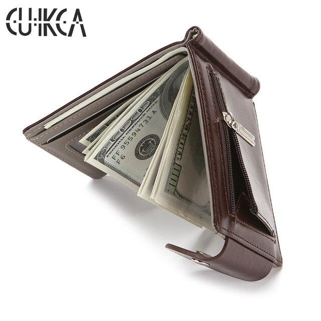 Женские тонкие кожаные кошельки с зажимом для денег