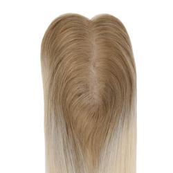 Moresoo Haar Topper Remy Menschliches Haar Topper mit Clips Toupet für Frauen Basis 1,5X5 zoll 10-18 zoll # T6/613 Braun Ombre Blonde