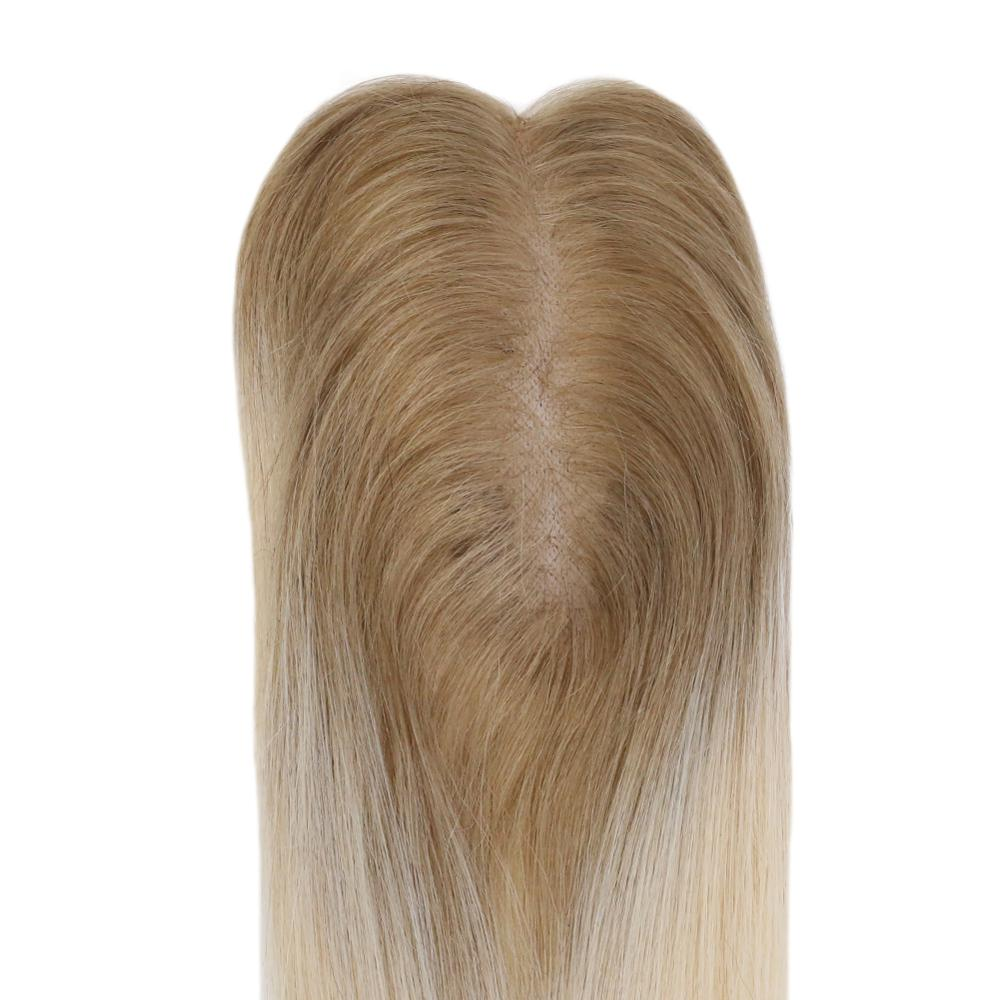 Moresoo Hair Topper Human Hair Machine Remy Topper With Clips Toupee For Women 1.5X5 Inch 8-18 Inch #T6/613 Brown Ombre Blonde