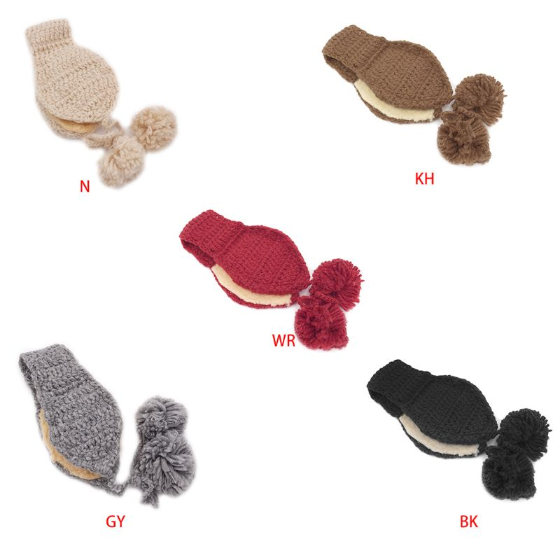 Children Girls Boys Crochet Knit Winter Hat Thicken Plush Lining Earmuff Solid Color Cute Pompom Ball Ear Warmer With Chin Strap
