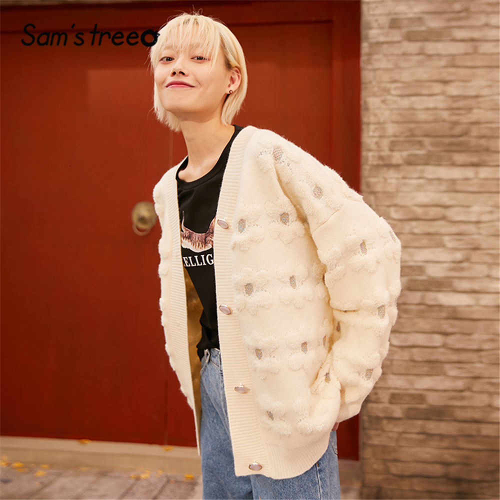 SAM'S TREE White Solid Floral Korean Knit Women Cardigan Sweater 2020 Spring Blue Single Button Lantern Sleeve Casual Ladies Top