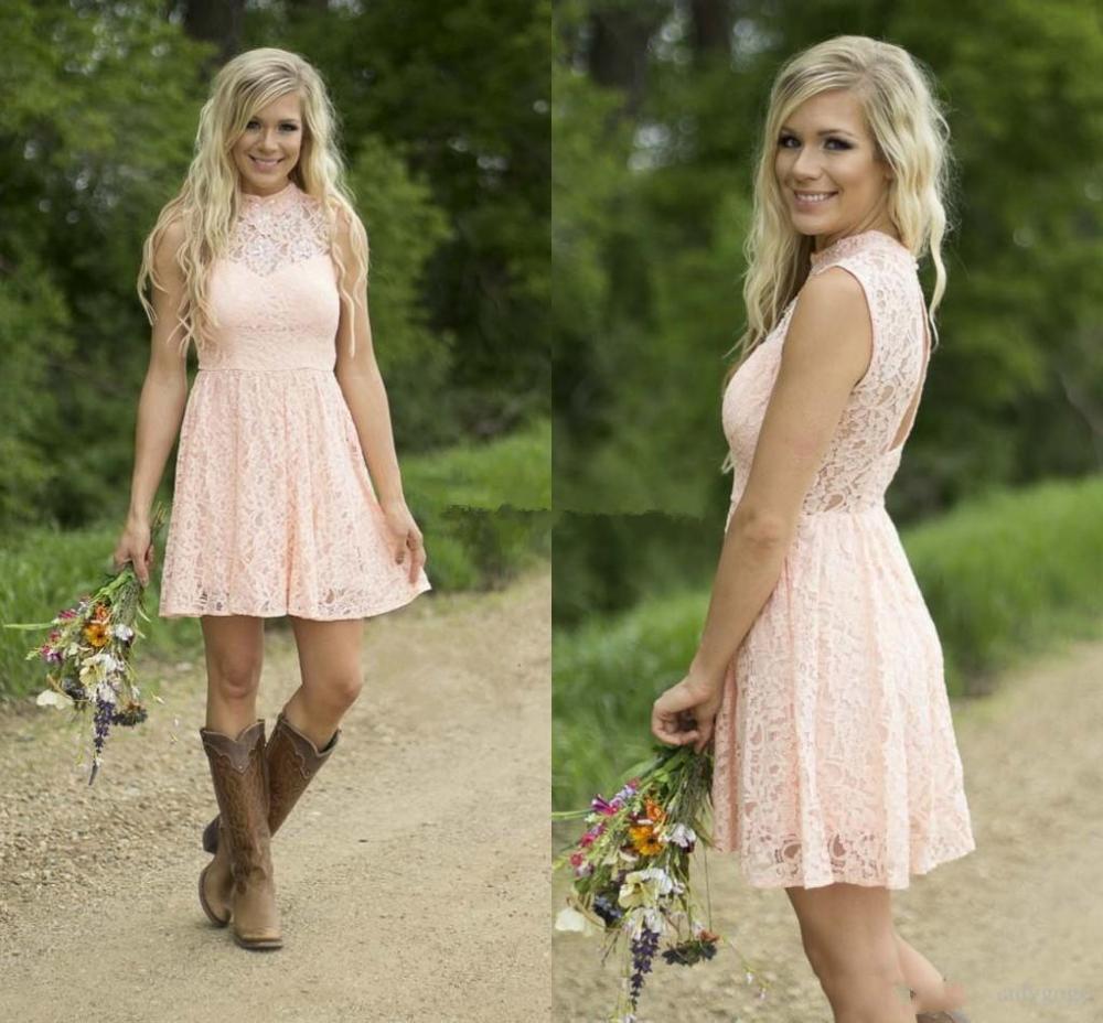 Hot Sale Short Country Bridesmaid Dresses 2020 Modest Blush Lace High Neck Beach Garden Knee-length Wedding Party Guest Dress