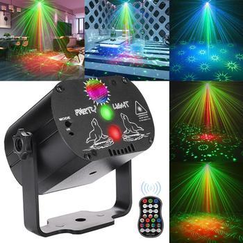 Mini RGB światło dyskotekowe DJ Laser LED projektor sceniczny czerwony niebieski zielony lampa USB akumulator ślub urodziny DJ lampa tanie i dobre opinie CAIYUE Rohs CN (pochodzenie) Efekt oświetlenia scenicznego CH-M0001 100-240V Domowa rozrywka Stage Light black Aluminum