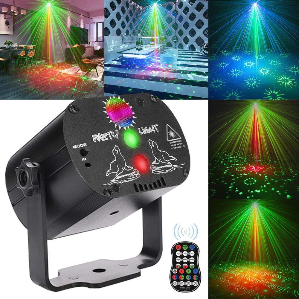 Мини RGB дискотечный светильник DJ светодиодный лазерный сценический проектор Красный Синий Зеленый USB перезаряжаемая лампа для свадьбы, дня ...
