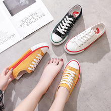 цена на Small White Shoes Female 2019 Summer New Students Wild Canvas Women's Shoes Rainbow Wild Canvas Tide Shoes
