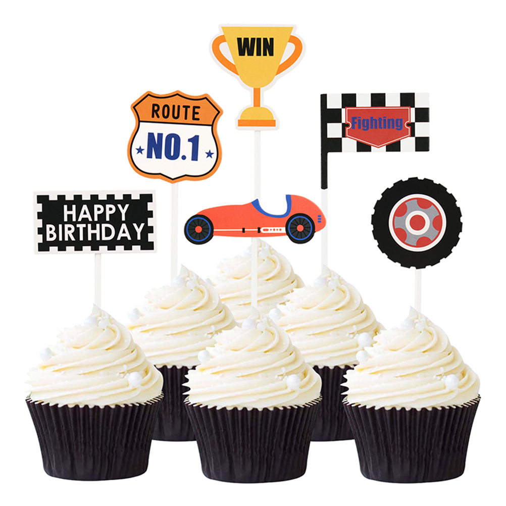Superb 18Pcs Racing Car Trophy Cake Topper Birthday Cake Inserts Cupcake Funny Birthday Cards Online Fluifree Goldxyz