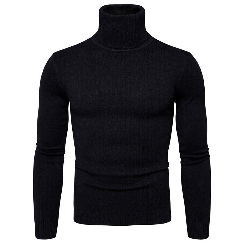 Fashion Men Cotton Sweater 2019 Autumn Winter Warm Solid Color Turtleneck Jumper Pullover Casual Sport Knitwear Sweater 5Colors
