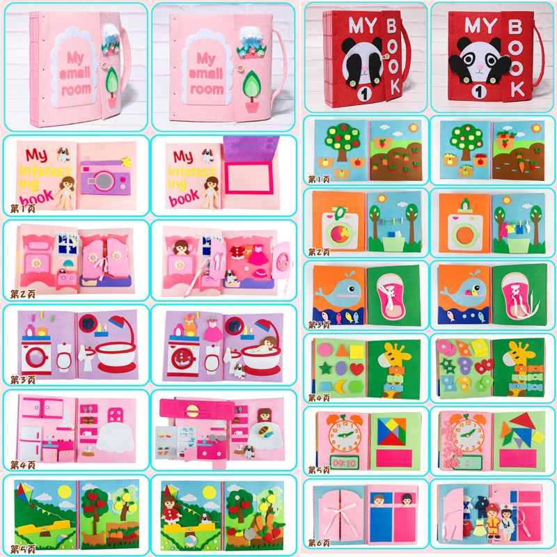 3D Kid Cloth Book DIY Non-Woven Panting Book Manual Intelligence Puzzle Children Toy Early Education Development Reading Book