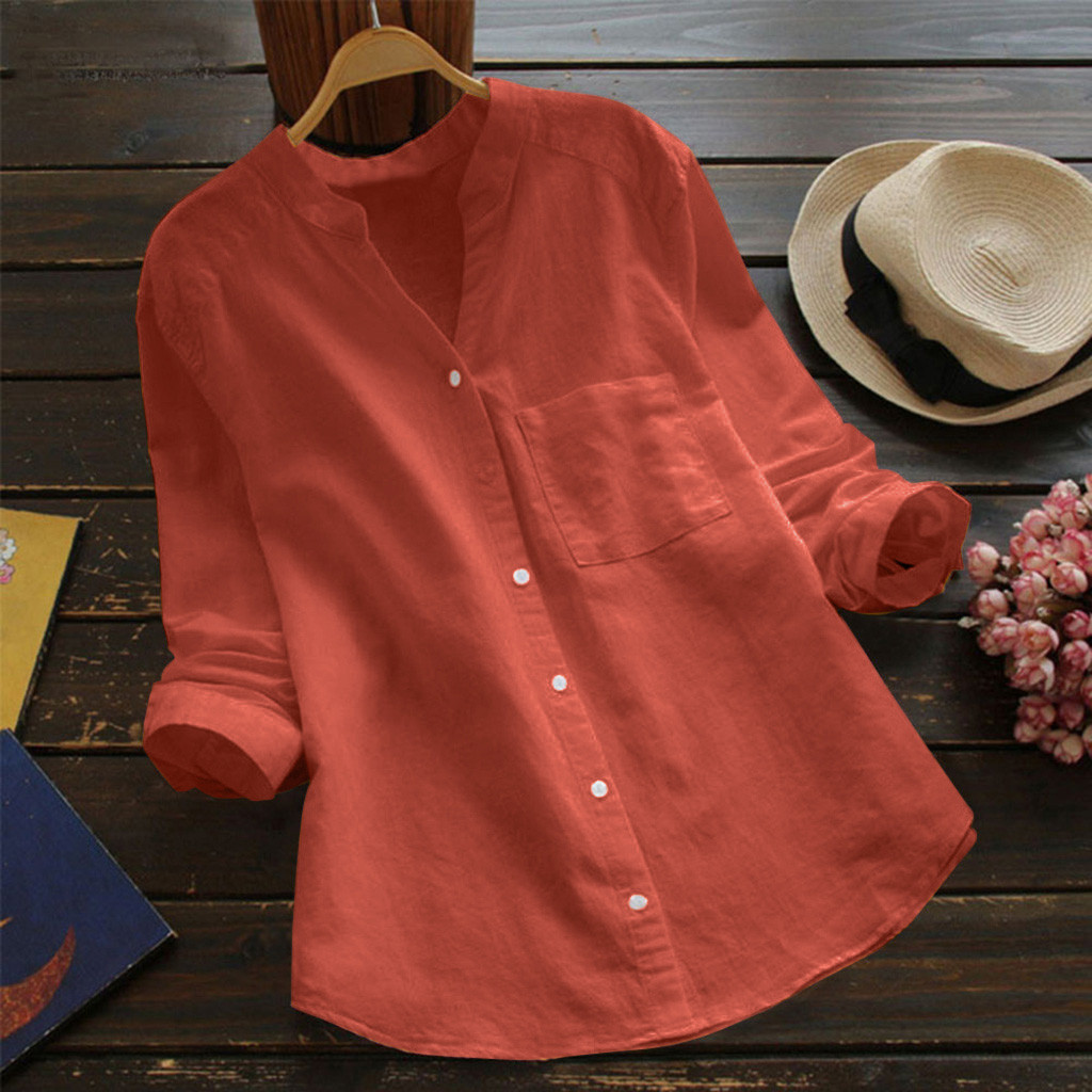 Plus Size Blouse Women Cotton Linen solid loose Buttons Shirt Long Sleeve Stand Collar Blouse Chemisier Femme Women Blouses