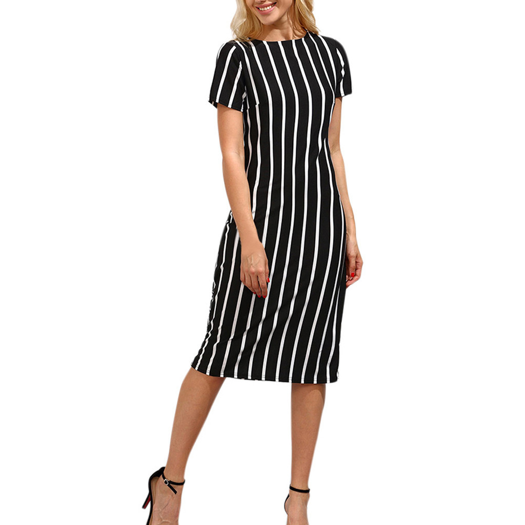 Dress Women Vestidos Halloween S-2XL Winter Mujer Robe Femme Shein Dresses 2019 Ladies Striped Knee Length Plus Size Dress Z4