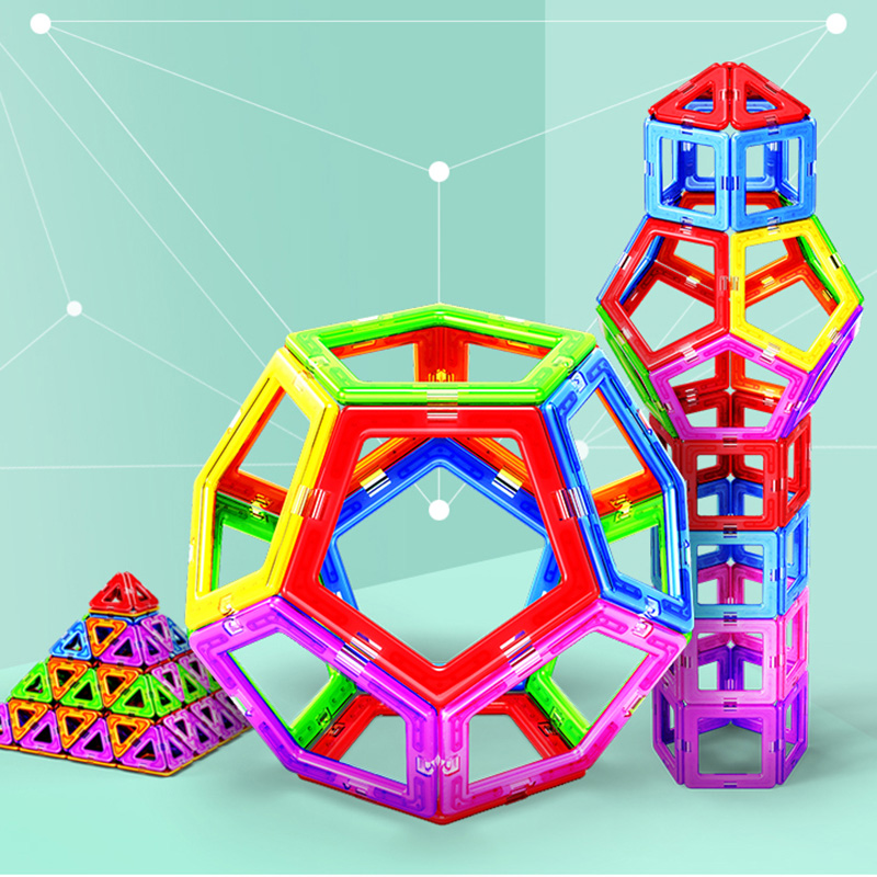184Pcs Mini Magnetic Blocks Designer Construction Set Model & Building Toy Plastic Magnetic Blocks Educational Toys For Kids Gif