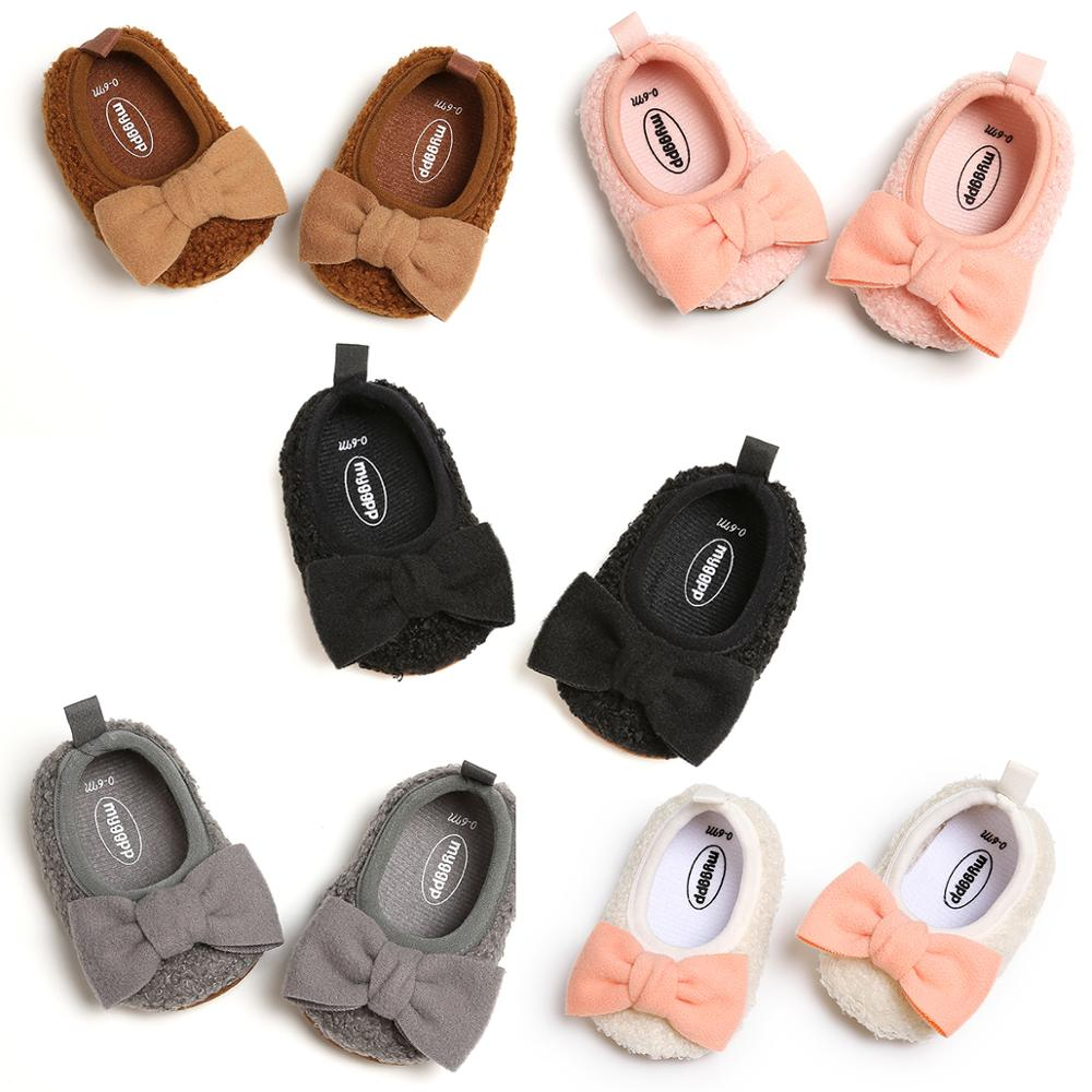 Leather Bowknot Baby Girl Shoes With Headband Set Toddler Sneakers Newborn Prewalkers Infant First Step Walker Crib Shoes