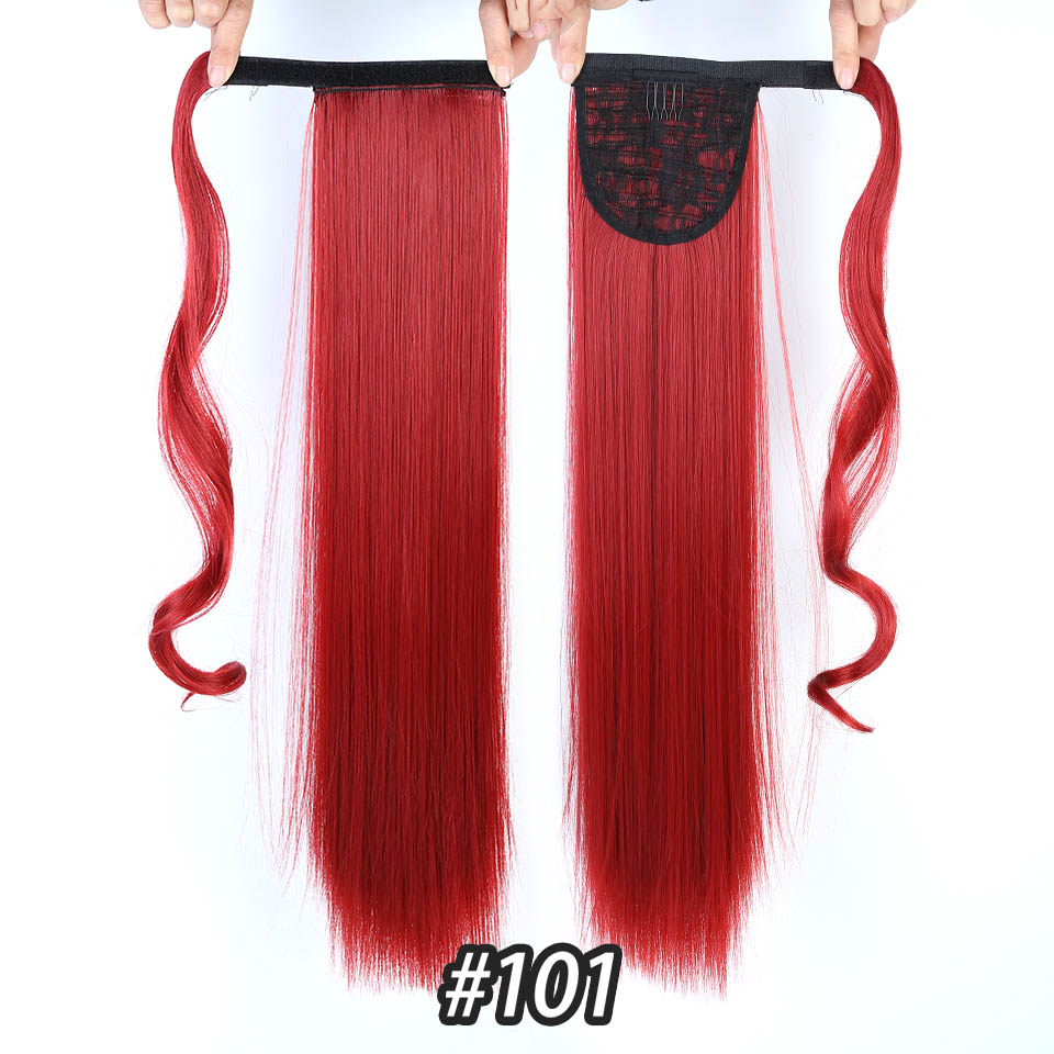 HOUYAN 24 дюймов длинные толстые прямые волосы кудрявые волосы синтетические волокна конский хвост обернутый парик длинный парик конский хвост парик - Цвет: 101
