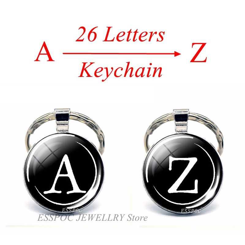 สไตล์เรียบง่าย 26 ตัวอักษรพิมพ์บุคลิกภาพชื่อพวงกุญแจ Handmade DIY จี้แฟชั่น Key ผู้ถือแหวน