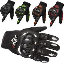 Guantes de carreras para motocicleta, negros, genuinos, guantes de moto