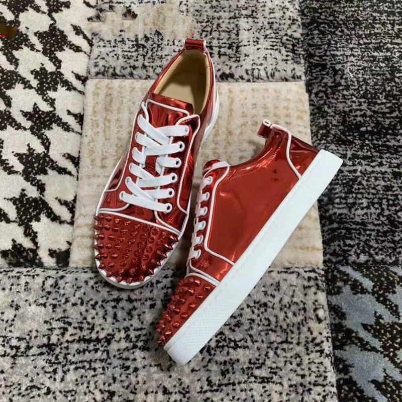2019-20 bas rouge chaussures mode rouge miroir hommes chaussures plates pointes dans la tête à lacets peu profonde Style décontracté hommes chaussures