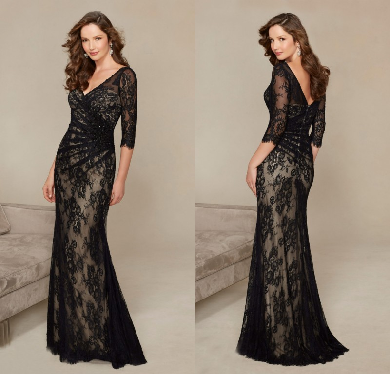 Formal V Neck Vestido De Festa Long Mermaid Black Lace Evening Gown 2018 New 3/4 Long Sleeve Mother Of The Bride Dresses