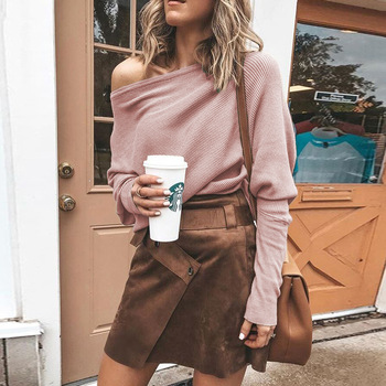 Women Sweaters Autumn Casual Long Sleeve One Shoulder Solid Slouchy Loose Pullover Slim Sexy Strapless Off