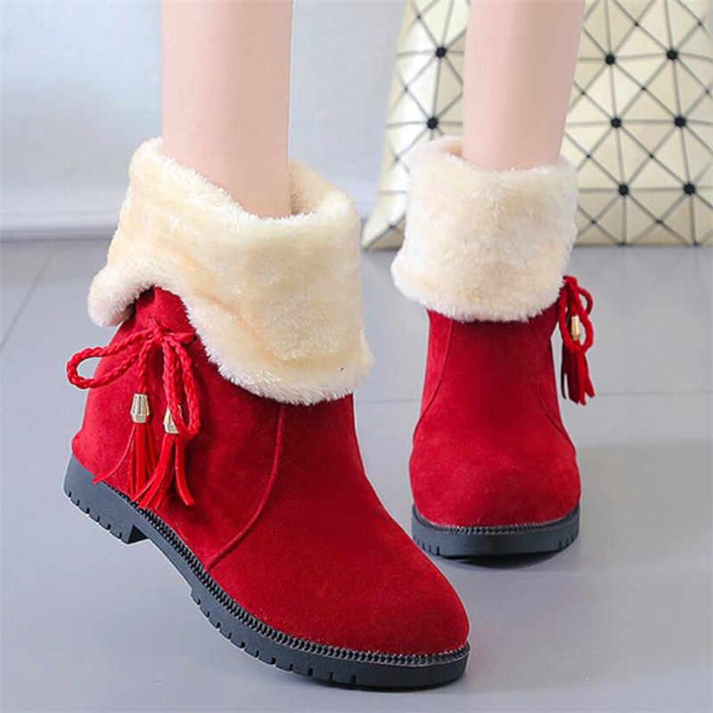 LZJ 2019 mới Giày bốt nữ mùa đông nữ ấm áp thời trang thoải mái Ủng nam nữ sang trọng cao lương nữ da giày tăng