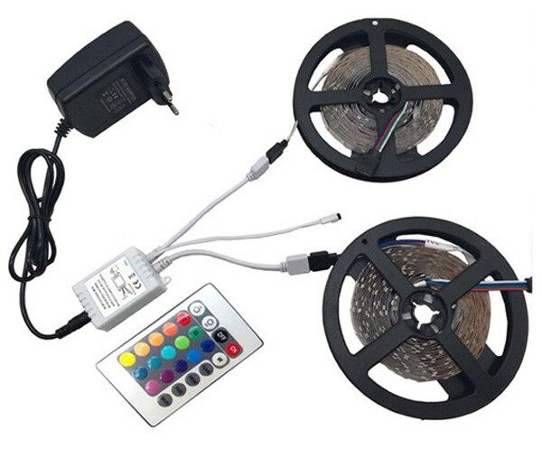 He69b17d21ef346f88ecc7e9f0421c0b4D LED Strip Light RGB 5050 SMD 2835 Flexible Ribbon fita led light strip RGB 5M 10M 15M Tape Diode DC12V 60LEDs 1M+Control+Adapter