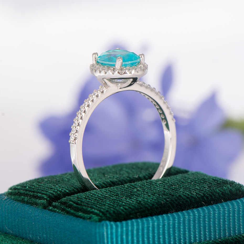 GZXSJG บราซิล Paraiba ทัวร์มาลีนอัญมณีแหวนสำหรับสตรี 925 เงินสเตอร์ลิงรูปไข่ 6x8 มม.แหวนทัวร์มาลีนขนาด 10