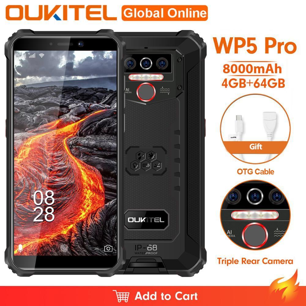 Смартфон OUKITEL WP5 Pro, IP68, 8000 мА ч, Android 10, тройная камера, 5,5 дюйма, 4 + 64 ГБ