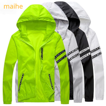 Мужчины% 60 ветровка лето защита от солнца куртка верхняя одежда спорт велоспорт Thin +с капюшоном пальто мужчины jaqueta masculina бренд одежда