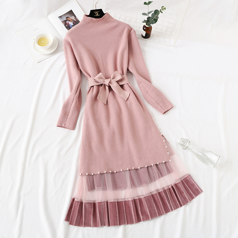 Elegant Stylish Half Turtleneck Long Sweater Dress + Pleated Velvet Skirt 2pcs Women Beaded Sashes Kitted Top and Mesh Skirt Set 35