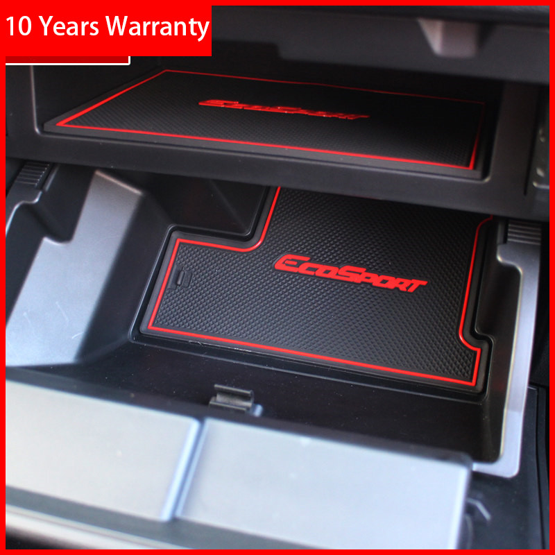 Rubber Mat  For Ford Ecosport  2018 Door Slot Pad Cup Cushion Groove Mat Lnterior Anti Slip Mat Car Accessories Styling