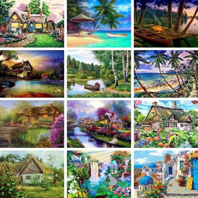 Gatyztory Lukisan Pemandangan Berbingkai Dengan Angka Untuk Orang Dewasa Gambar Mewarnai Dengan Angka Cat Akrilik Set Lukisan Kanvas Dekorasi Rumah Cat Dengan Nomor Aliexpress