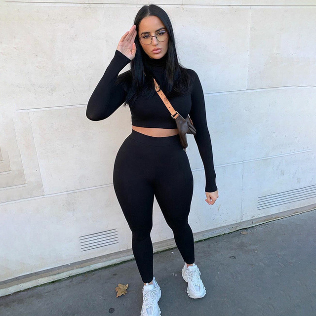 2020 Winter Women Sport Fitness 2 Two Piece Set Outfits Long Sleeve Crop Tops Tshirt Leggings Pants Set Bodycon Tracksuit 2