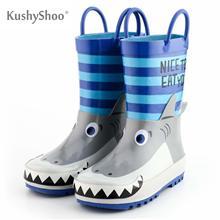 Kushyshoo botas de chuva crianças à prova dwaterproof água botas de borracha 3d dos desenhos animados tubarão impresso criança menino rainboots kalosze dla dzieci