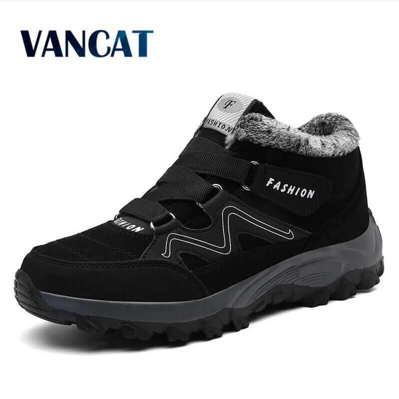 Vancat New Men Boots Winter With Plush Warm Snow Boots Casual Men Winter Boots Work Shoes Men Footwear Fashion Ankle Boots 39-46