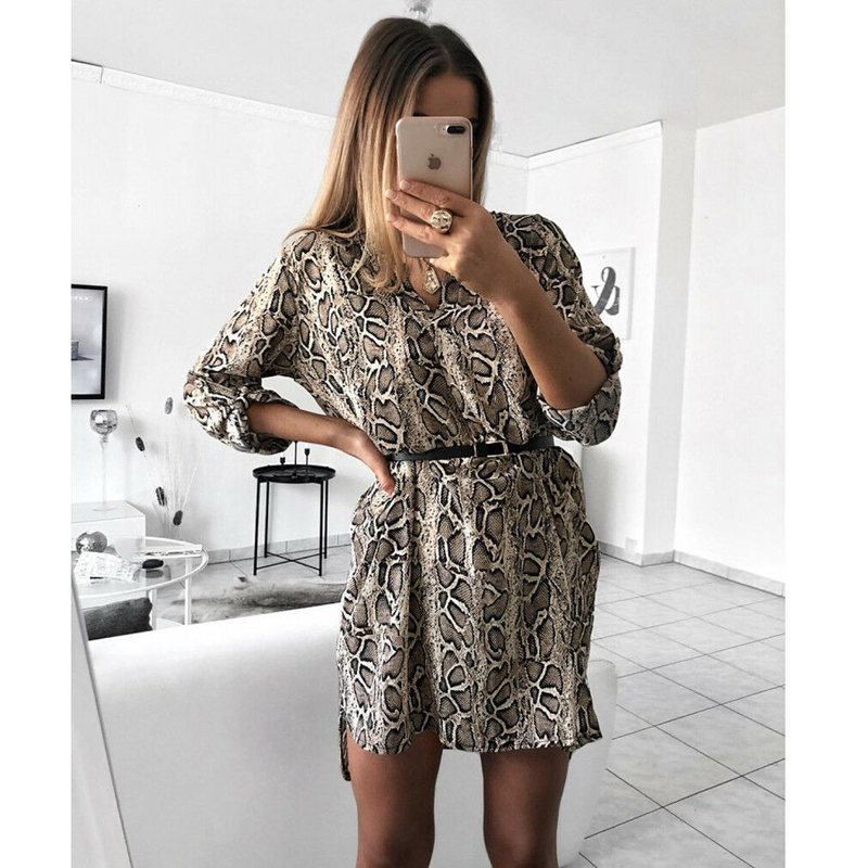 Women Autumn Sexy Leopard Snake Print Dress Striped Long Sleeve V Neck Dress Ladies Casual Empire Mini Loose Dresses in Dresses from Women 39 s Clothing