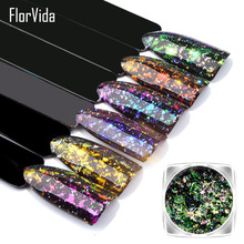 Florvida 6 Colors Nail Art Foil Glitter Beauty Decoration Mirror Effect Glitters Powder Chrome