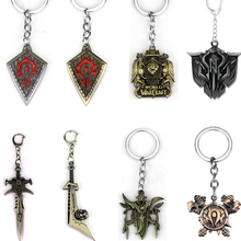 Hot Game Series WOW Hearthstone Heroes Metal Keychains World of Warcraft Fine keyring High Quality Zinc Alloy Men Chaveiro classic game wow world of warcraft lion keychain antique bronze demon king head metal shield charms key pendant chaveiro jewelry