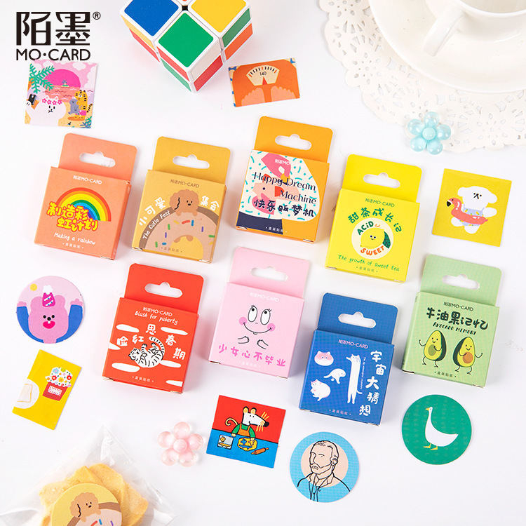 Mohamm Boxed Stickers Scrapbooking School-Supplies Avocado Flakes Cartoon Cute Animal title=
