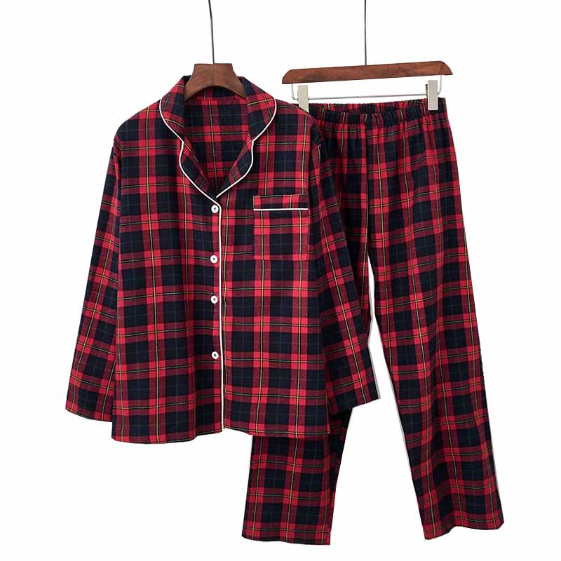 2019 AUTUMN New Femme Pajamas Set Red Plaid Turn-down Collar Simple Style Sleepwear Set Full Cotton Comfort Homewear Casual Wear