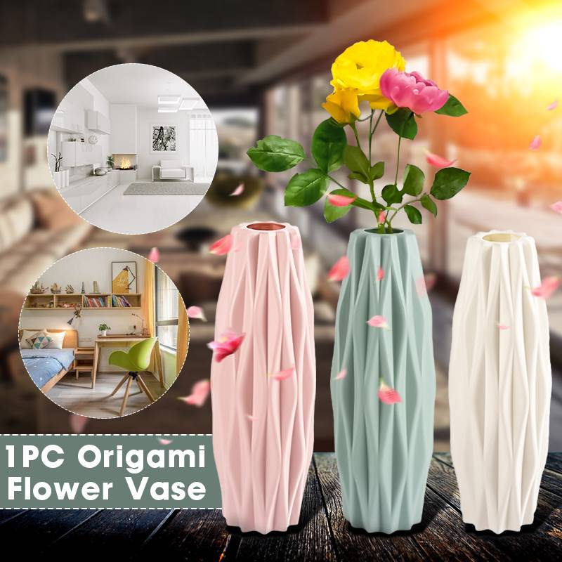 Creatives Plastic Vase Nordic Style  Ceramic Vase PE Drop-resistant Vase Home Decoration Ornaments Living Room Vase
