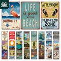 Пляжный Ретро жестяной знак  металлическая Винтажная летняя настенная табличка  пляжный декор  пляжный бар  пляжный домик  морские декорати...