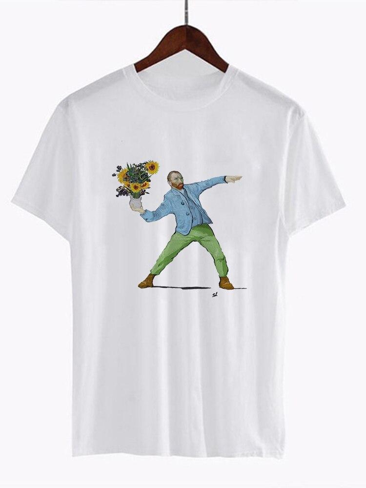 Van Gogh Art   t     shirt   women top Oil Print   t  -  shirt   female new streetwear 2019 Casual tshirt graphic tee   shirts   Harajuku Femme