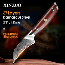 """XINZUO 3"""" PRO Fruit Knife Damascus Steel Kitchen Knives Tools Japanese VG10 Core Razor Sharp Blade with Rosewood Handle"""