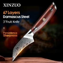 """XINZUO 3 """"프로 과일 나이프 다마스커스 스틸 주방 나이프 도구 일본 VG10 코어 면도기 샤프 블레이드 로즈 우드 핸들"""