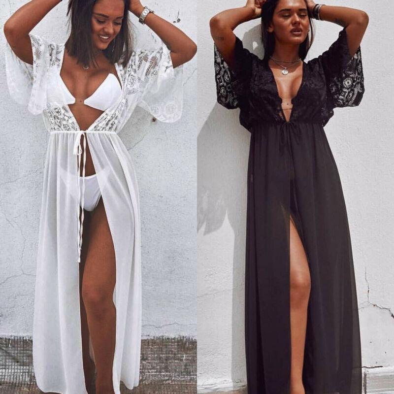 Women's Bikini Cover Up Dress Kaftan Bathing Suit V-neck Pareos For Women Beach Tunic Sarong Beachwear Swimwear Robe De Plage