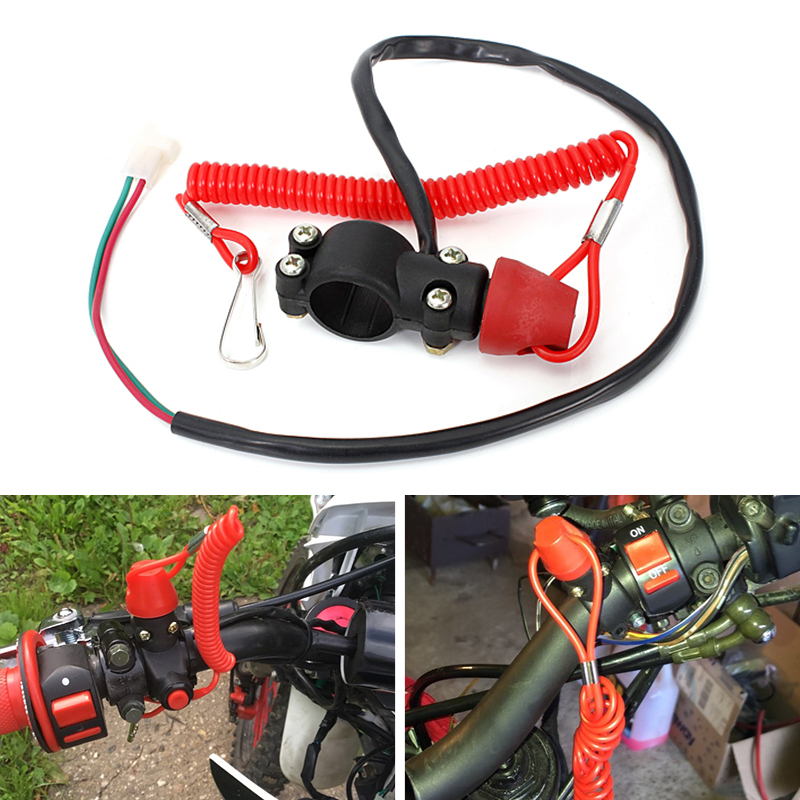 Motorcycle Kill Stop Switch & Safety Tether Cord For 7/8 Inch Handlebar Scooter ATV Quad Pit Dirt Bike UTV Etc Moto Accessories