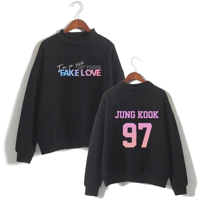 Корейский Kpop с буквенным принтом Harajuku повседневные Kawaii Топы уличная одежда Camisas Muje FAKE LOVE Album Толстовка зимний топ с длинными рукавами