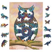 Quebra-cabeça 1000 peças animal redondo quebra-cabeças para adultos montagem de papel 3d coruja puzzle jogo brinquedos educativos para crianças